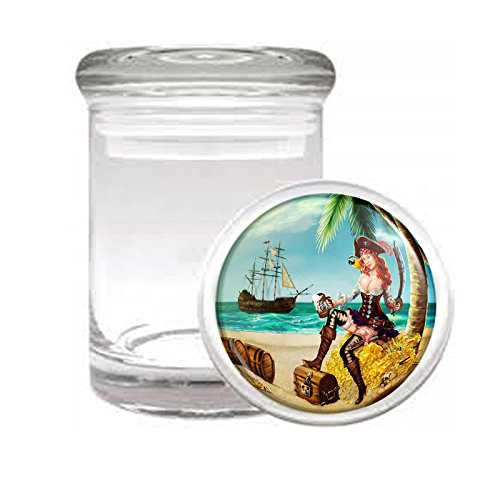 (Medical Glass Stash Jar Sexy Pirate Pin Up Girl S7 Air Tight Lid 3