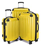 HAUPTSTADTKOFFER Luggages Sets Glossy Suitcase Sets Hardside Spinner Trolley Expandable (20', 24' & 28') TSA (Yellow)