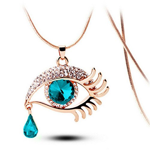 - Balakie Magic Eye Necklace Crystal Tear Drop Eyelashes Long Sweater Chain Sparkle Jewelry (Blue, Free Size)