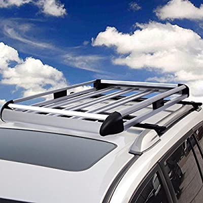 """Item Valley 50""""x38"""" Aluminum Car Roof Cargo Carrier Luggage Basket Rack Top w/Crossbars New"""