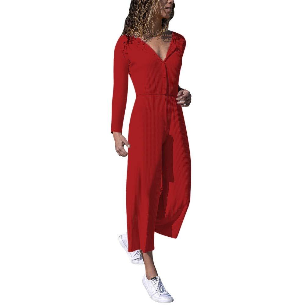 Ankola Jumpsuit Women's Long Sleeve V Neck Button High Waist Wide Leg One Piece Jumpsuit Playsuit Pant Suit (S, Red)