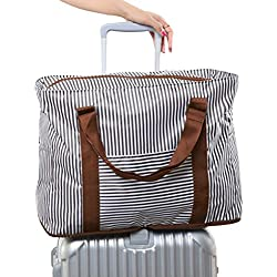 Packable Waterproof Nylon Stripes Foldable Travel Duffle Bag Carry on Travel Luggage Organizer with Trolley Sleeve Flight Bag Holiday Gym Overnight Clothes Suitcase Organiser Storage Packing Bag