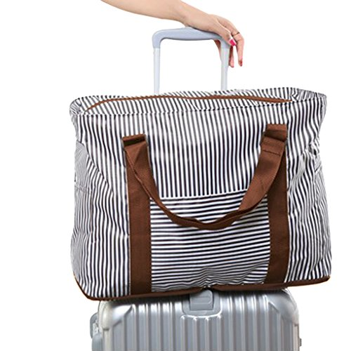 (Packable Waterproof Nylon Stripes Foldable Travel Duffle Bag Carry on Travel Luggage Organizer with Trolley Sleeve Flight Bag Holiday Gym Overnight Clothes Suitcase Organiser Storage Packing Bag)