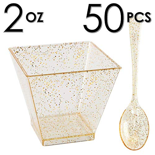 DLux 50 x 2 oz Square Mini Dessert Cups with Spoons, Gold Glitter Clear Plastic Parfait Appetizer Cup - Small Disposable Reusable Serving Bowl for Tasting Party Desserts Appetizers - With Recipe Ebook