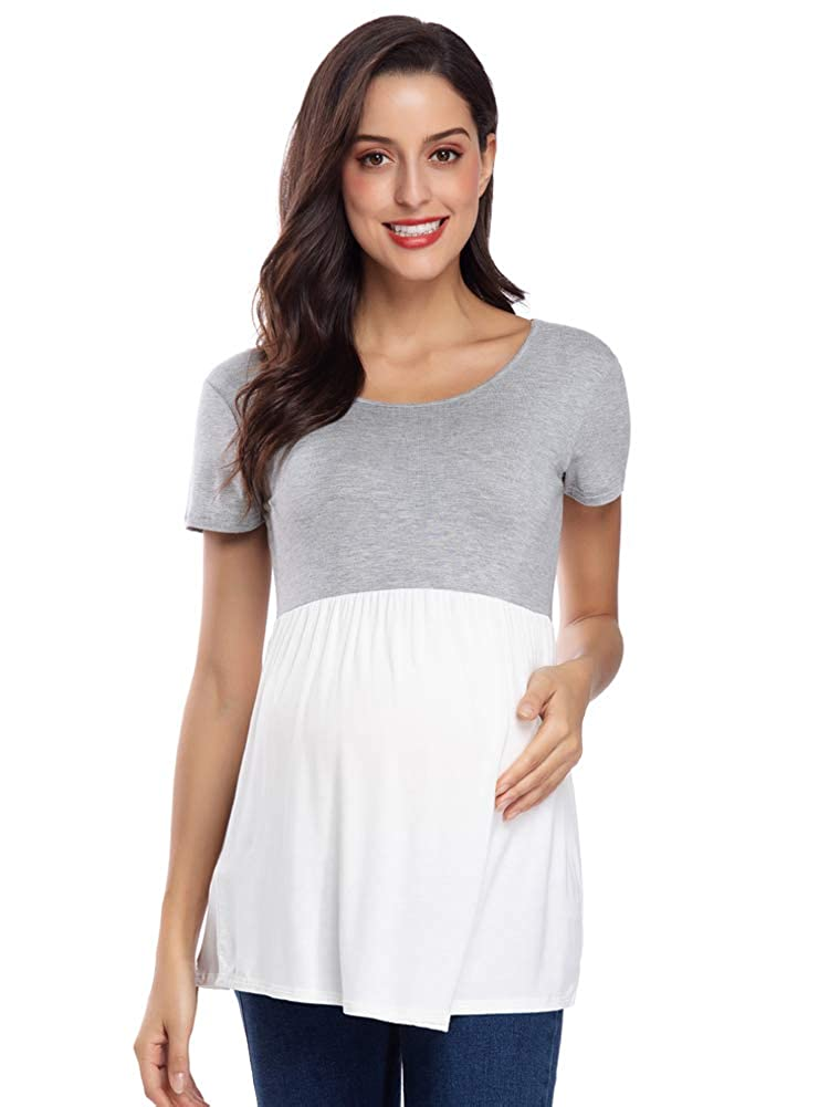 d9301ab67a CareGabi Women s Maternity Tops Basic Round Neck Short Sleeve Shirts The  Front Wrinkles Comfy Pregnancy Clothes at Amazon Women s Clothing store
