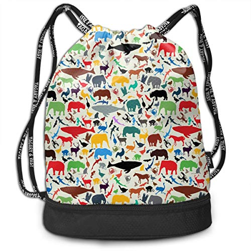 Wild Life Animal Silhouettes Drawstring Bag For Mens And Womens, 100% Polyester Original Bundle Backpack