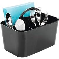 mDesign Plastic Cutlery Storage Organizer Caddy Bin - Tote with Handle - Kitchen Cabinet or Pantry - Basket Organizer…