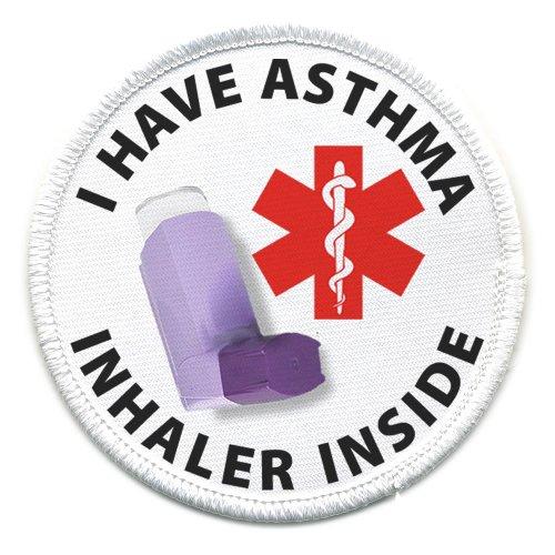 I HAVE ASTHMA INHALER INSIDE Medical Alert Symbol 4 inch Sew-on Patch