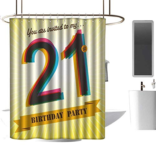 r Curtain 21st Birthday,Invitation to an Amazing Birthday Party on a Golden Colored Backdrop Image,Multicolor,Hand Drawing Effect Fabric Shower Curtains Odorless 60
