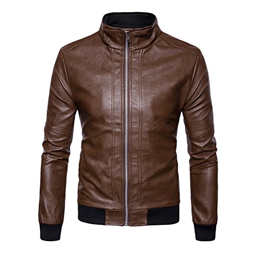 Zhhlinyuan Men's Zipper Solid Color Stand Collar PU Leather Motorcycle Jacket (Pu Solid Stand Collar)