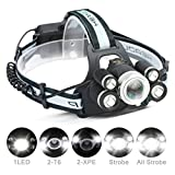 Linterna Frontal LED,CAMTOA 5 LED XML-T6 8000 Lúmenes Súper Brillante Headlamp,Zoomable Lámparas Frontales de Cabeza Recargable USB,con 2 x 18650 Baterías Recargables, 5 Modos de luz,Impermeabile & Ajustable para Camping,Correr, Caminar,Leer,Escalar,Pesca,Ciclismo
