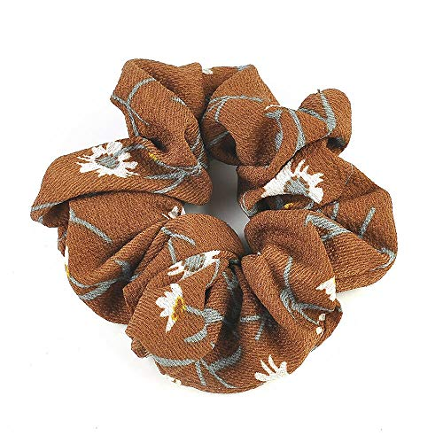 (Large Top Quality Velvet Scrunchies Color Assorted Hair Holder FashionSolid (Colors - 1Pcs Floral Beige 2))