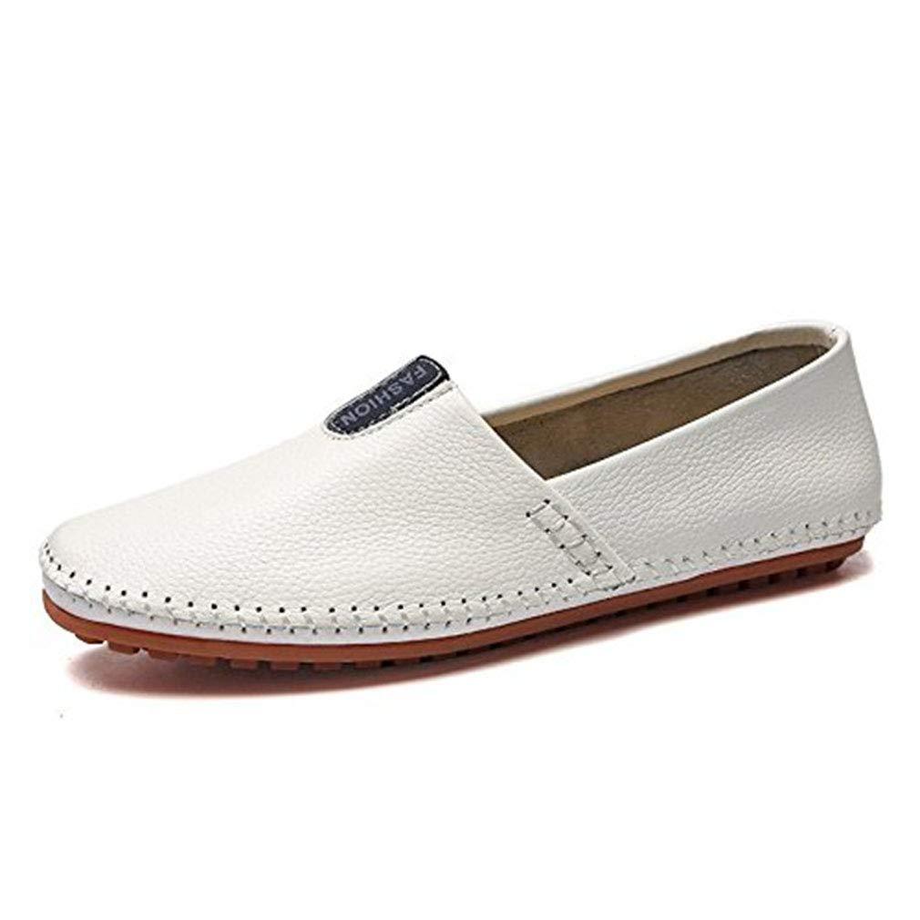 Männer Gelegenheits-Loafers Flache Schuhe Rutschen Auf Formale Geschäftsarbeit Bequeme Moccasins Rutschfeste Wanderschuhe Passend Leichte Runde Zehe (YAN),Weiß,47