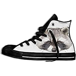 NAFQ Raccoon Illustration Classic Canvas Sneakers Shoes Lace Up Unisex High Top