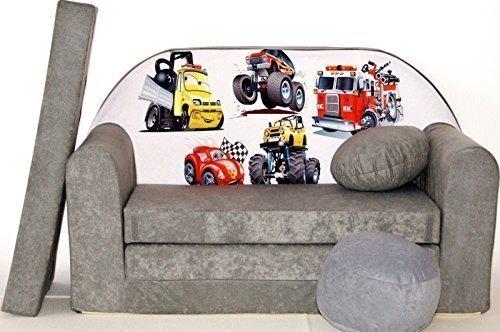 Pro Cosmo Sofa A14 Cama con Puff/reposapies/Almohada, Hecho de Tela Gris, tamano de 168x 98x 60cm