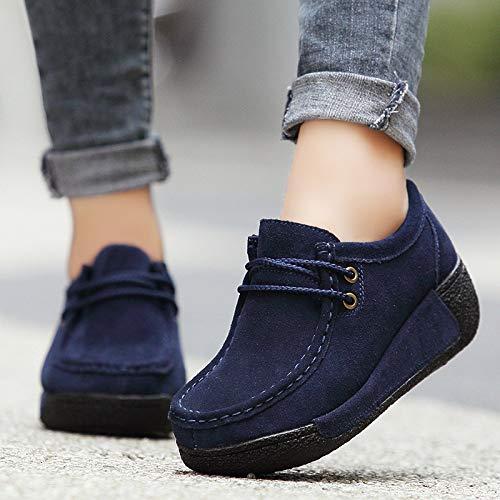 EU Cordones Azul tamaño Qiusa Las Zapatos 40 de la de Mujeres Azul Plataforma con Color Ocasionales YRnOCgPq