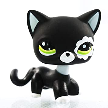 Opef Rare Black LPS Cat, Pointed Ear Green Eyes Flower Patch Loose Cute LPS Collie Figure Toy for Child Girl
