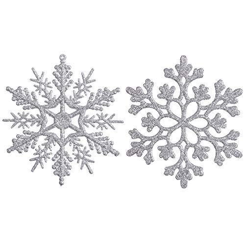 Sea Team Plastic Christmas Glitter Snowflake Ornaments Christmas Tree Decorations, 4-inch, Set of 36, Silver (Christmas And Silver Pink)