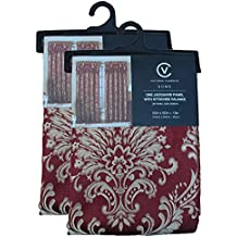 NEW 4 Piece Victorian Style Jacquard Curtain Set 2 Panels,valance 4 Colors (Burgundy)
