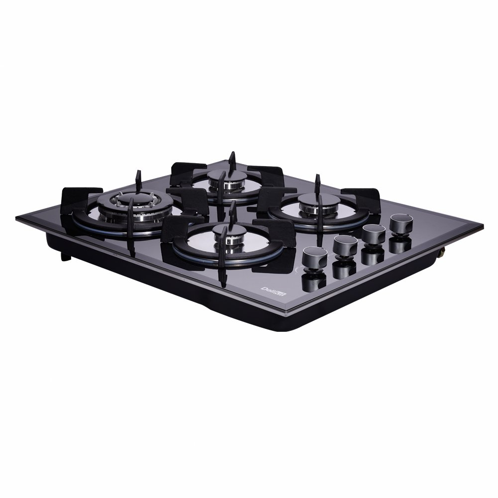 DeliKit DK145-A01S 24 inch gas cooktop gas hob stovetop 4 Burners LPG//NG Dual Fuel 4 Sealed Burners Kitchen Slope Edge Tempered Glass Built-in gas Cooktop 110V AC pulse ignition Natural Gas