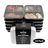 [10-Pack] Premium 3-Compartment Stackable Meal Prep Containers With Lids ...