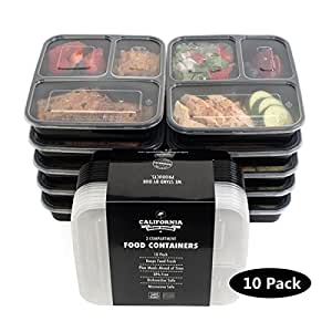 [10-Pack] Premium 3-Compartment Stackable Meal Prep Containers With Lids Reusable Microwavable Plastic BPA Free Lunch Box