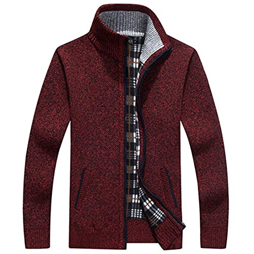 - XinDao Men¡¯s Relax Classic Cardigan Cashmere Wool Blend Sweaters with Pockets Purplish Red US L/Asia 2XL