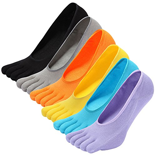 NO Show Running Five Fingers Crew Ankle Toe Socks for Women Ladies Men (M-(US shoe size 7-10), 6colors) ()