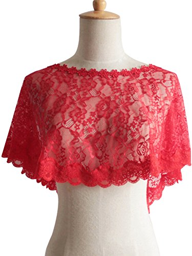 Embellished Bolero - Women's Embellished Floral Lace Deco Bolero Wedding Party Shrug Shawl Wrap,Red