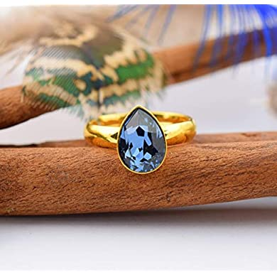 Anillo cristales azul - Beforya Paris