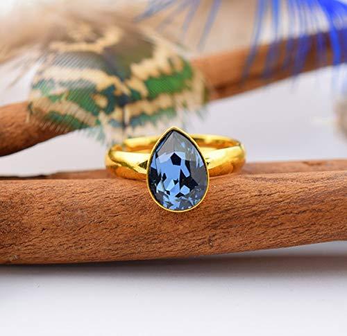 Anillo cristales azul - Beforya Paris