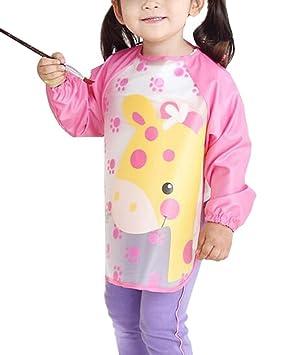 Baby Girls Waterproof  Apron Bibs Cartoon Animal Kids Eat Play Painting Apron