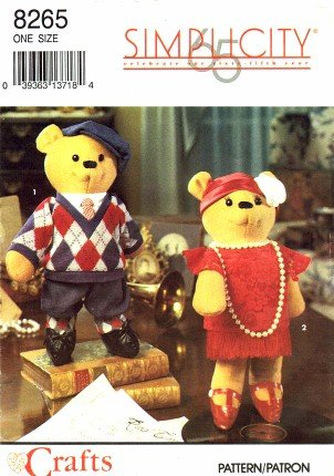 Simplicity Crafts Pattern 8265 ~ Roaring 20s Boy & Flapper Girl Teddy Bear with -