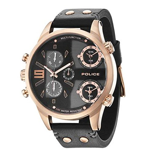 Police 14374jsr02 53.5mm Gold Plated Stainless Steel Case Black Calfskin Mineral Men's Watch