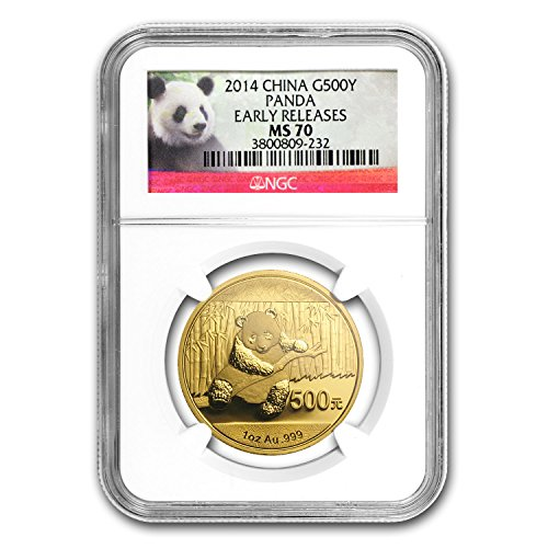 - 2014 CN China 1 oz Gold Panda MS-70 NGC (ER) 1 OZ MS-70 NGC