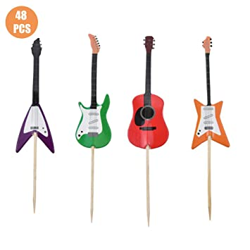 Wondrous Hokpa Guitar Shape Cupcake Toppers Kid Boy Birthday Decorations Funny Birthday Cards Online Barepcheapnameinfo
