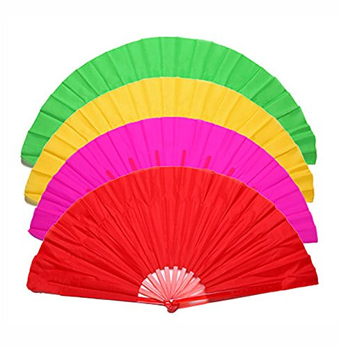 Smartlife15 Chinese Dance Fan, Plastic Frame Foldable Performances Belly Dance Hand Fan, Martial Arts Kung Fu Tai Chi Fan, Wedding Holiday Festival Party Gift Fan (4Colors)
