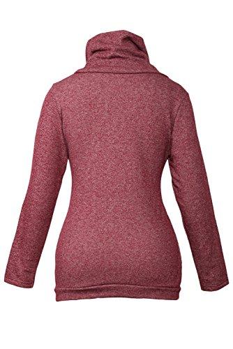 Aisuper - Sudadera con capucha - chaqueta - Básico - Manga Larga - para mujer Rosso