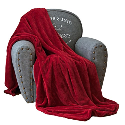 Burgundy Throw (Luxury Collection Ultra Soft Plush Fleece Lightweight All-Season Throw/Bed Blanket (Throw (50-Inch-by-60-Inch), Burgundy))