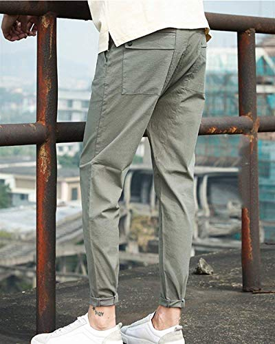 Ropa Pantalones Lino Flojos De Largos Cómodos Los Saoye Kaki Hombres Fashion Grün t5qgB4z8w