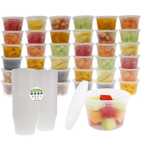 Freshware 36-Pack 16 oz Plastic Food Storage Containers with Airtight Lids - Restaurant Deli Cups, Foodsavers, Baby, Bento Lunch Box, 21 Day Fix, Portion Control, and Meal Prep - 16 Ounce Plastic Containers
