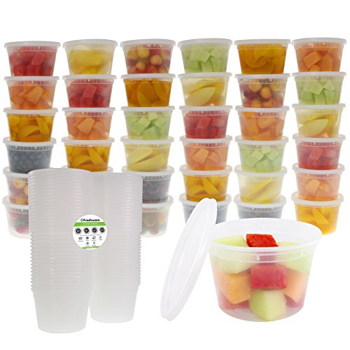 Freshware 36-Pack 16 oz Plastic Food Storage Containers with Airtight Lids - Restaurant Deli Cups, Foodsavers, Baby, Bento Lunch Box, 21 Day Fix, Portion Control, and  Meal Prep Containers