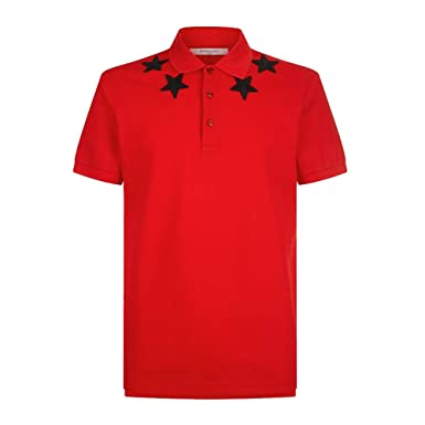 5fa35d0d Givenchy Men's Red Star Print Polo Shirt Columbian Fit Cotton - Red ...