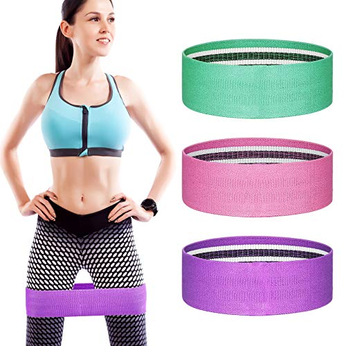 YXwin Exercise Resistance Bands Hip Booty Bands Stretch Workout Bands- Cotton Resistance Band for Legs and Butt Body…