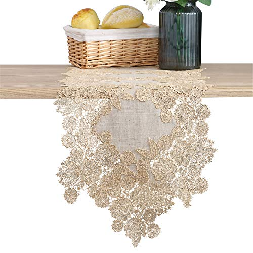 LUCKYHOUSEHOME Coffee Lace Flower Embroidery Table Runner Long Rustic Wedding Party Church Decorations 13 x 106 Inch (Runner Ruffled Table)