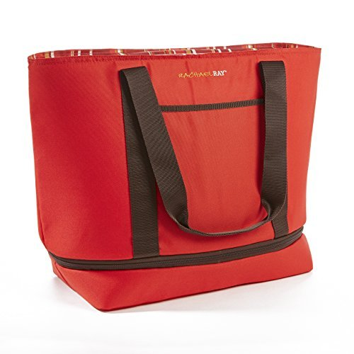 Rachael Ray Expandable Insulated Tote Bag, XL Capacity for Grocery Shopping/Entertaining, Red Stripes