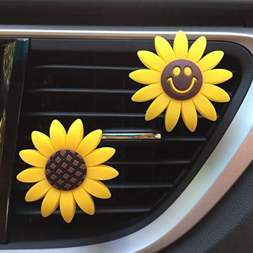 Sunflower Car Accessories Cute Car Air Freshener Girasoles Air Vent Clips Car Interior Air Vent Decorations Perfume Gift, Creative Fragrance Air Freshener Holder & Container 2 Pack (CC)