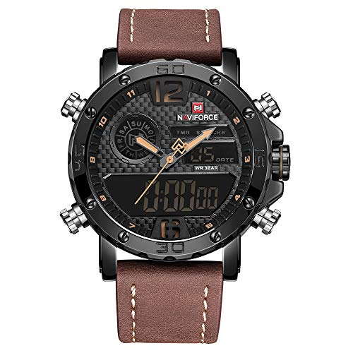 Men's Waterproof Digital Sports Leather Wrist Watch Nightlights Quartz Watches