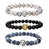 MIKINI Jewelry Black Matte Agate Natural Onyx Stone Dragon Veins Agate Mens Womens Bracelets, Alloy Lion Head (Pack of 3)
