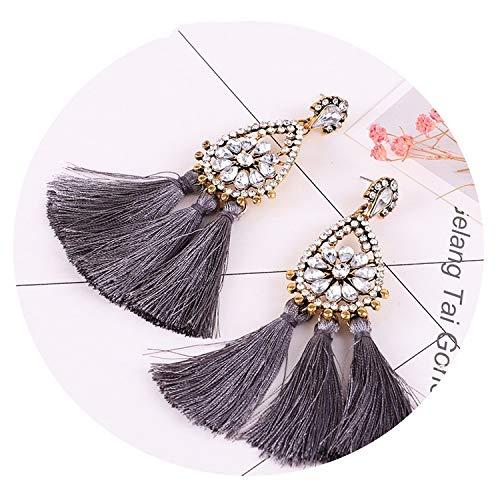 Tassel earrings bohemian statement long earring handmade women geometric fringe big ()
